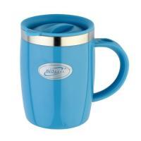 Кружка дутая Biostal Fl?r (0,4 литра) с крышкой, синяя