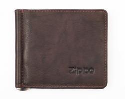 Зажим для денег Zippo, коричневый, натуральная кожа, 10,5?1?9 см