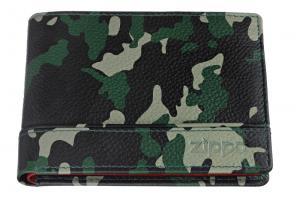 Портмоне Zippo, цвет зелёно-чёрный камуфляж, натуральная кожа, 11,2?2?8,2 см