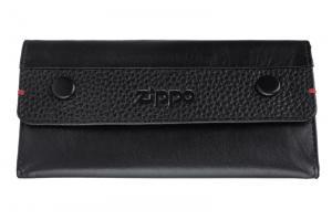 Кисет для табака Zippo, чёрный, натуральная кожа, 15x2,5x8 см