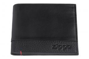 Портмоне Zippo с защитой от сканирования RFID, цвет чёрный, натуральная кожа, 10,5?1,5?9 см