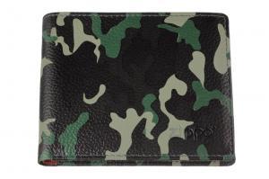 Портмоне Zippo, цвет зелёный камуфляж, натуральная кожа, 10,8?1,8?8,6 см