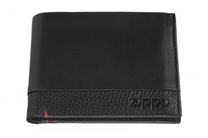 Портмоне Zippo с защитой от сканирования RFID, цвет чёрный, натуральная кожа