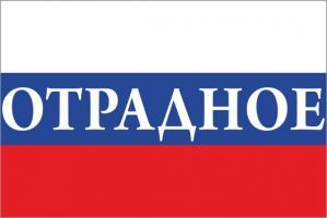 Флаг России с названием города Отрадное