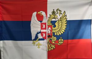 Флаг Сербия и Россия с гербами