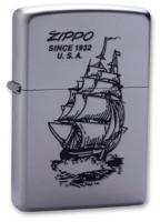 Зажигалка Zippo Boat-Zippo с покрытием Satin Chrome, латунь/сталь, серебристая, матовая, 36x12x56 мм