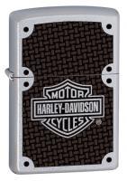 Зажигалка Zippo Harley-Davidson Carbon Fiber с покрытием Satin Chrome, латунь/сталь, серебр
