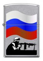Зажигалка Zippo Защитник Отечества, латунь/сталь с покрытием Street Chrome™, серебристая, 36x12x56мм