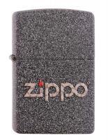 Зажигалка Zippo, латунь с покрытием Iron Stone, серая с фирменным логотипом, матовая, 36x12x56 мм