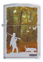 Зажигалка Zippo Осенняя охота, латунь/сталь с покрытием Satin Chrome, серебристая, 36x12x56 мм