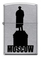 Зажигалка Zippo Памятник Пушкину, латунь/сталь с покрытием Street Chrome™, серебристая, 36x12x56 мм