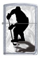 Зажигалка Zippo Хоккеист, латунь/сталь с покрытием Street Chrome™, серебристая, матовая, 36x12x56 мм