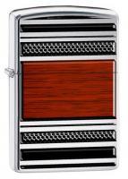 Зажигалка Zippo Pipe с покрытием High Polish Chrome, латунь/сталь, серебро/дерево, глянцевая, 36х12x