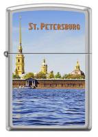 Зажигалка Zippo Петропавловская крепость, латунь/сталь с покрытием Satin Chrome, серебристая