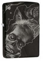 Зажигалка Zippo Zombie, латунь/сталь с покрытием Softouch, чёрная, матовая, 36x12x56 мм