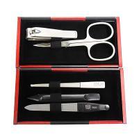Маникюрный набор Yes, 5 предметов, цвет красный/черный, металлический футляр