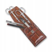 Маникюрный набор Yes, 5 предметов, цвет коричневый, кожаный футляр