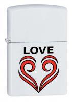 Зажигалка Zippo Love Theme с покрытием White Matte, латунь/сталь, белая, матовая, 36x12x56 мм