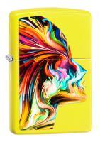 Зажигалка Zippo Classic с покрытием Neon Yellow, латунь/сталь, жёлтая, глянцевая, 36x12x56 мм