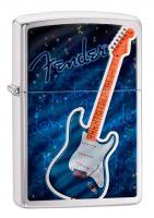 Зажигалка Zippo Fender с покрытием Brushed Chrome, латунь/сталь, серебристая, матовая, 36x12x56 мм