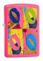 Зажигалка Zippo Classic с покрытием Neon Pink, латунь/сталь, розовая, глянцевая, 36x12x56 мм