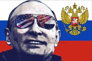 Флаг России с президентом В.В. Путиным и гербом