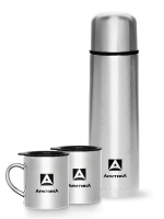 Набор Арктика термос (1 литр) + 2 кружки невакуумные (0,3 литра), стальной