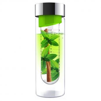 Бутылка Asobu Flavour it (0,48 литра), зеленая с серебристым*