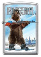 Зажигалка Zippo Русский медведь с покрытием Street Chrome™, латунь/сталь, серебристая, матовая