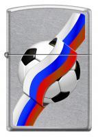 Зажигалка Zippo Российский футбол с покрытием Street Chrome™, латунь/сталь, серебристая, матовая